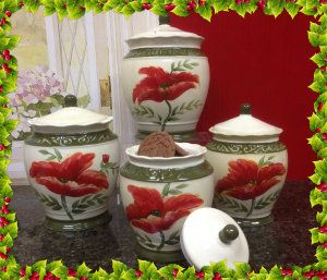 Tuscany Floral Poppy, Hand Painted Ceramic Canister, Set of 4 Small: 7″H x 5″W Medium: 7-1/2″H x 5-1/3″W Large: 8-1/4″H x 6″W XLarge: 9-1/7″H x 6-2/3″W  This set is slightly heavy but will brighten up any kitchen. http://theceramicchefknives.com/ceramic-canister-sets-beautiful-long-lasting-gifts/  3-Piece Canister Set, 4-Piece Hostess Set, Anchor Home Collection 4-Piece Ceramic Canister Set with Clamp Top Lid and a Wood Spoon,