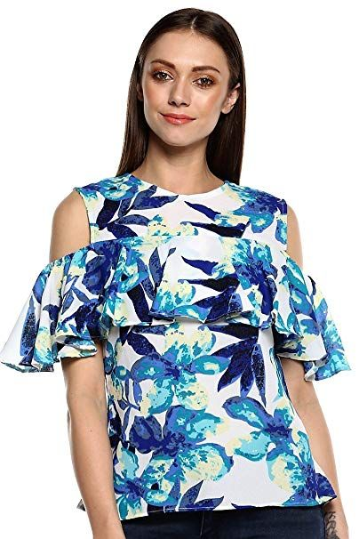 e667f35396e132 indietoga Women White Blue Georgette Floral Print Western wear top - XL