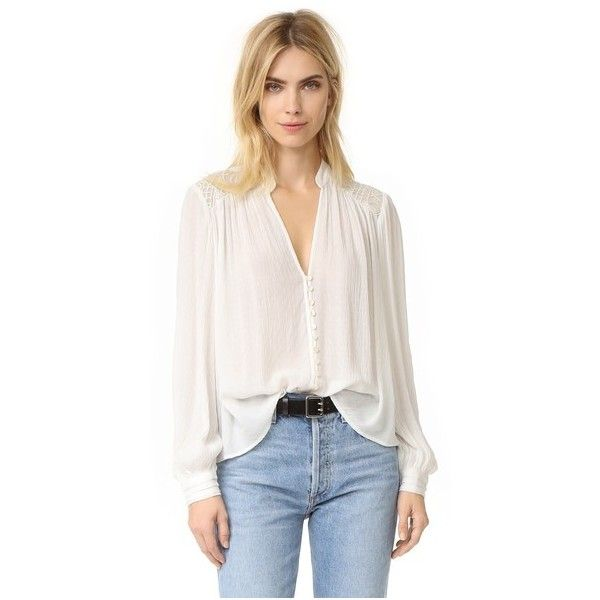 Free People Canyon Rose Button Down Shirt (148 AUD) ❤ liked on Polyvore featuring tops, ivory, gauze shirt, v-neck tops, metallic shirt, long sleeve v neck top and long sleeve shirts