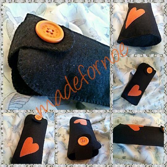 #felt #caseforglasses #orange #black #heart #useful #madefornoe #handmade