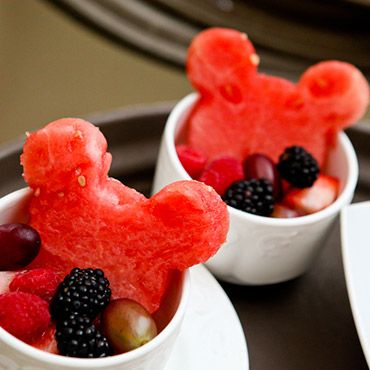 Delight your guests with Mickey shaped watermelons at a post-wedding brunch