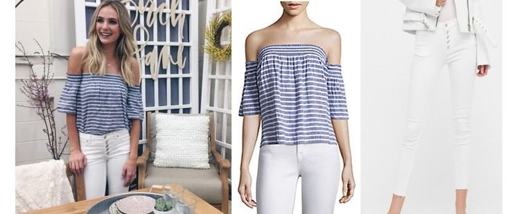 Lauren+Bushnell`s+Blue+and+White+Striped+Off+The+Shoulder+Top+and+White+Jeans