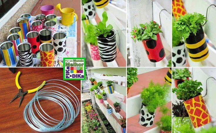 Olá Pessoal!!     Veja que lindas ideias para fazer para o seu jardim! Use adesivos para decorar as latinhas e depois plante alguma flor ou...