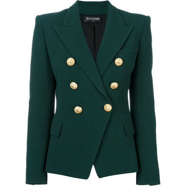 Balmain Double-Breasted Blazer With Gold Buttons ($2,315) ❤ liked on Polyvore featuring outerwear, jackets and blazers