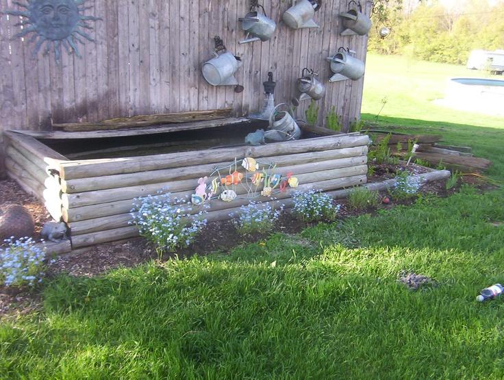 Above ground pond garden junk pinterest diy pond for Above ground fish pond