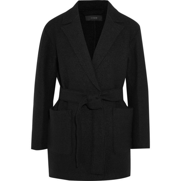J.Crew Sabrina belted boiled wool coat ($160) ❤ liked on Polyvore featuring outerwear, coats, black, j crew coats, boiled wool coat, j.crew coats, belted coat and tie belt