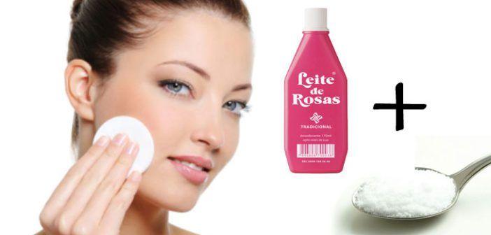 Limpeza de pele poderosa: leite de rosas com bicarbonato