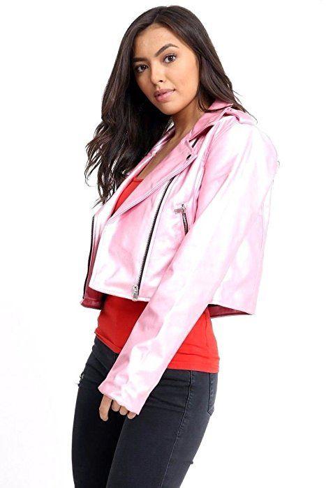 Faux Leather Jacket Ladies Vintage Crop Biker Style ZipUp PVC Outwear NEW Womens