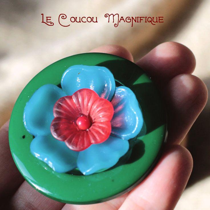 Spilla verde scuro con fiori vintage -  S.12.2015, by Le coucou magnifique, 10,00 € su misshobby.com