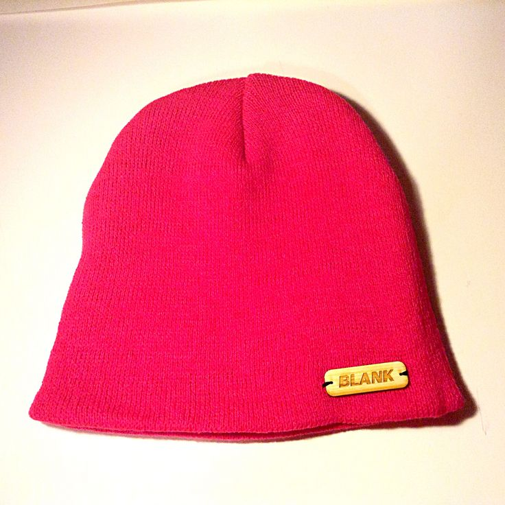 Hot Pink Beanie blank beanie with a little wooden label!