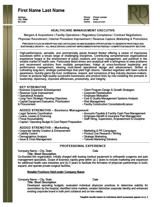 health care management executive resume template