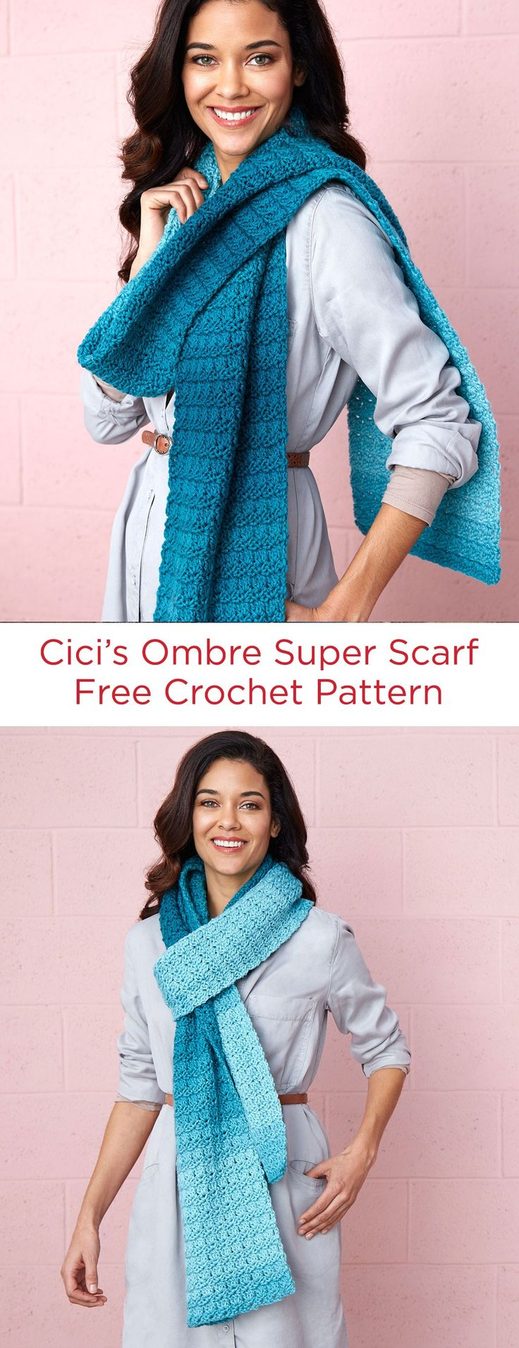 Cici's Ombre Super Scarf Free Crochet Pattern in Red Heart Super Saver Ombré Yarn -- As you crochet with this ombre yarn it changes in value including dark and lighter shades of the same hue. The textured pattern stitch allows the colors to transition beautifully!