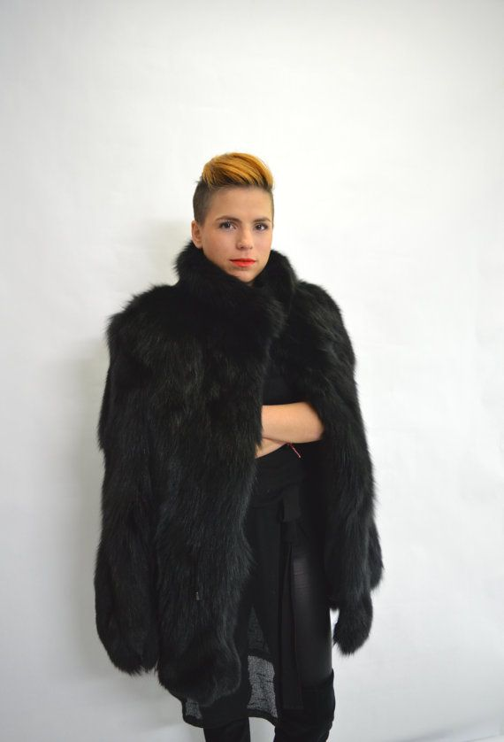 Real fur coat black fox fur coat genuine fox fur jacket. by BeFur