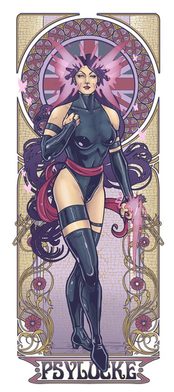 "Psylocke Nouveau  by ~hezaa    Psylocke aka Elizabeth ""Betsy"" Braddock is of British descent, despite having changed bodies with Kwannon-a ninja woman! Her psychic powers manifests themselves in a butterfly pattern around her face and she can use a psionic blade to disrupt the brain waves of sentient creatures."