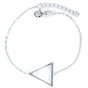 Pulsera de plata con cadena forzada muy fina triángulo de hilo de 18 mm
