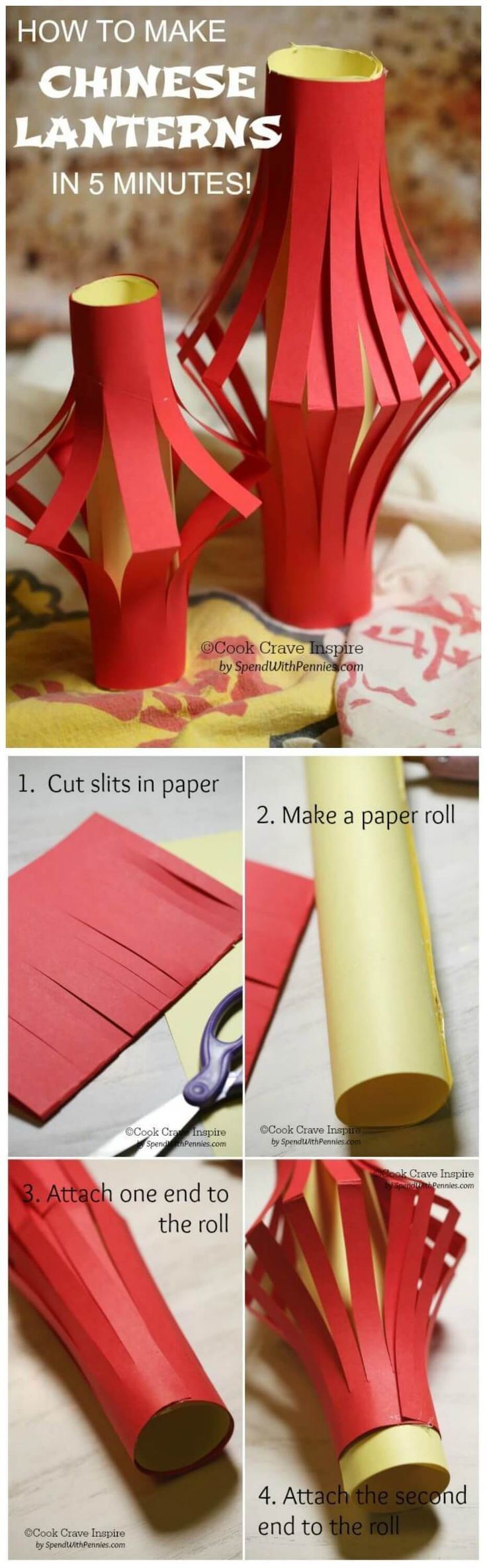 Did you know you can make your own Chinese lanterns in under 5 minutes? These are perfect for Chinese New Year decor or as a fun activity for kids!