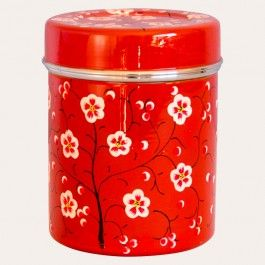 Brighten your kitchen up with our stunning tins, featuring a vibrant red blossom design. Made from top quality, durable and food safe stainless steel, these tins are individually hand painted by Kashmir artisans, inspired by and in keeping with the Indian tradition of decorating and adding colour to everyday objects. In two sizes, they are perfect for storing tea and coffee and co-ordinate beautifully with the Red Blossom Biscuit Tins, to make a matched set.