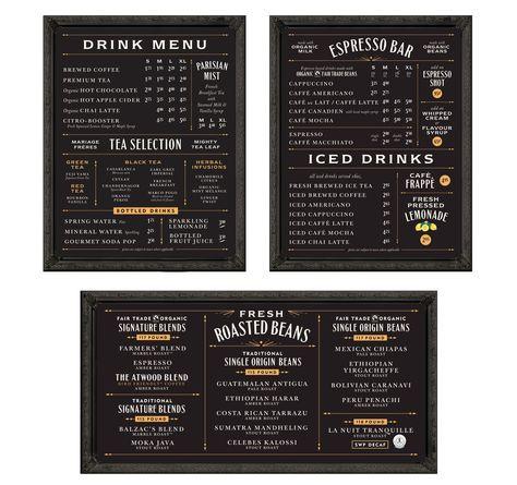 Balzac's Coffee Roasters menu boards