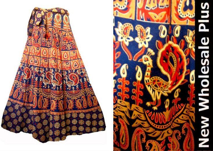 Indian tribal bohemian bloco de impressão longa saia do envoltório--ID do produto:110488274-portuguese.alibaba.com