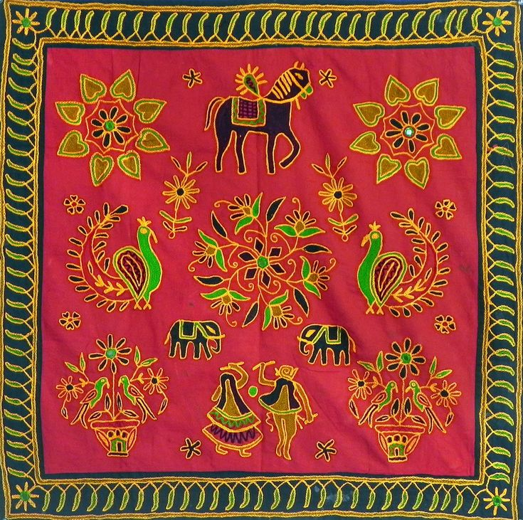 Embroidered Maroon Cloth with Black Border Depicting Folk Dancers, Animals,  Flowers and Rangoli Design - (Wall Hanging) (Cloth Embroidery - Unframed)