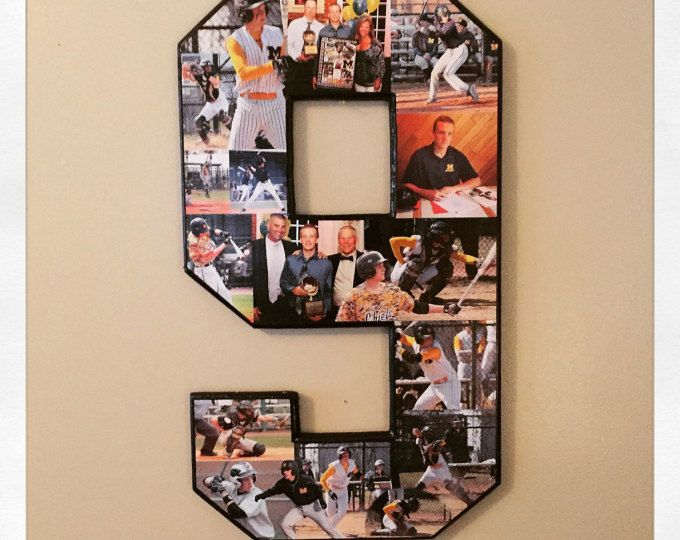 20 inch single digit number collage. Ships Free for Senior night! Sports collage. Great senior night/coach gift