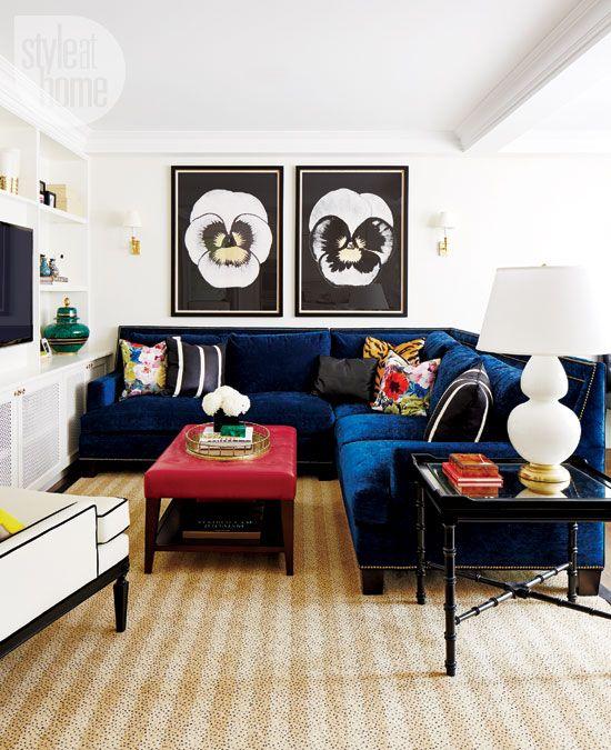 Kitchen | tv room | Pinterest | Blue velvet sofa, Blue ...