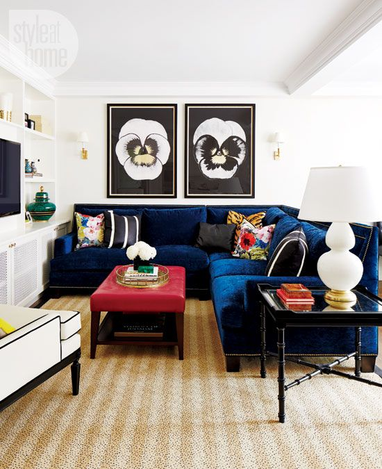 WANT this electric blue sectional for my tv room! gorgeous! White, black, blue tv room