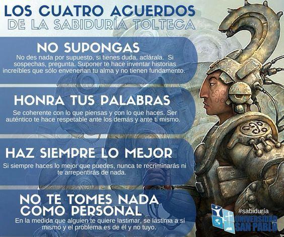 Los cuatro acuerdos de la filosofía Tolteca.