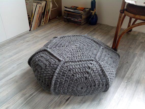 Chunky merino wool gray crochet pouf-ottoman / Gray crochet floor cushion / Crochet footstool
