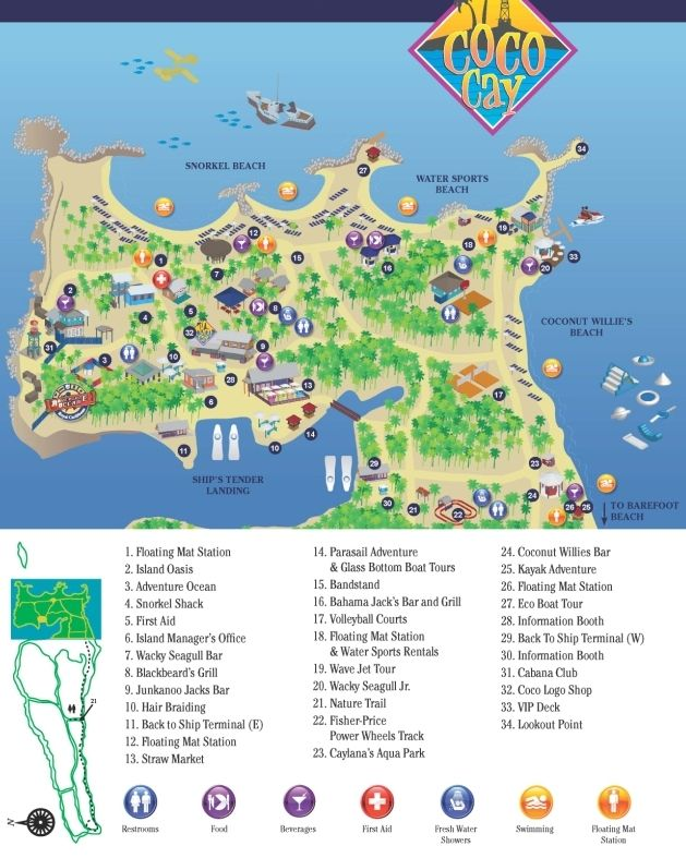 Detailed information about the cruise port including island maps for Royal  Caribbean Cruise Lines passengers visiting the cruise port of CocoCay,  Bahamas and Carnival Cruise Lines passengers visiting Little Stirrup Cay,  Bahamas.