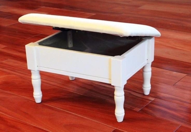 White Accent Ottoman Footstool with Storage Compartment Bedroom Decor New #ottoman