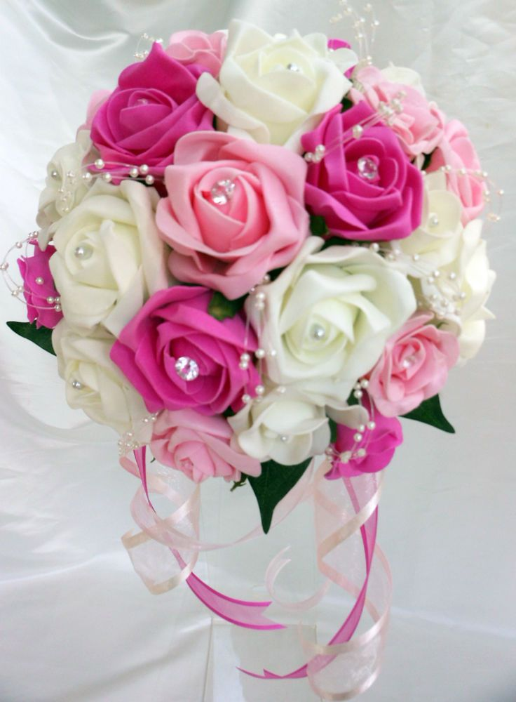 Brides,Bridesmaids,Wedding Bouquet Flowers Fuschia/Light Pink/Ivory                                                                                                                                                                                 More