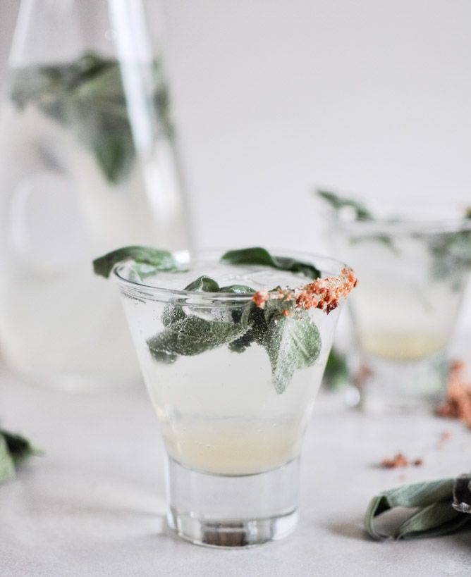 Honey Sage Gin Fizz with a smoked honey bacon rim, oh my!