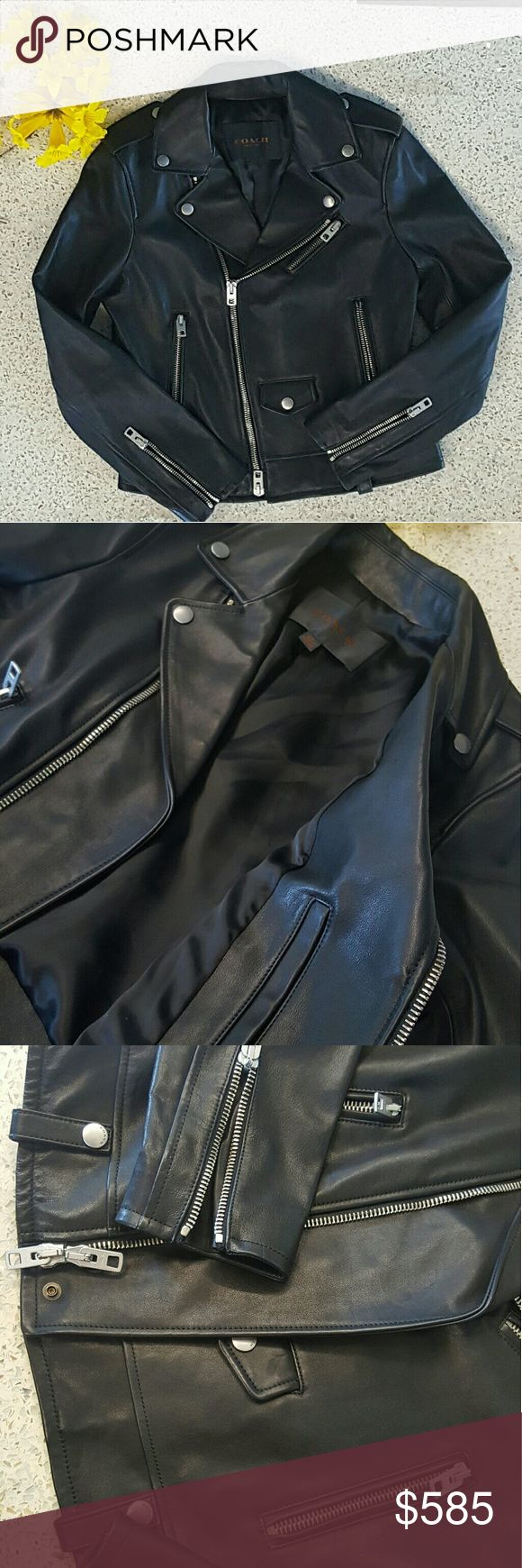 Coach Leather Rockstar Jacket Brand new!  Size 06, Medium  Genuine leather, silk interior, detailed with silver zippers No trades.  Kevin Hart's wife's jacket.  Reasonable offers accepted. Coach Jackets & Coats