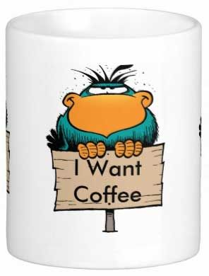"""Funny coffee mug: """"I Want Coffee"""". If it's not safe to get between you and coffee then this is just the coffee mug for you! Great Christmas gift. $12.95 from Swamp Cartoons. #coffee #funny #swamp #cartoons https://www.swamp.com.au/shop_product.php?p=121"""