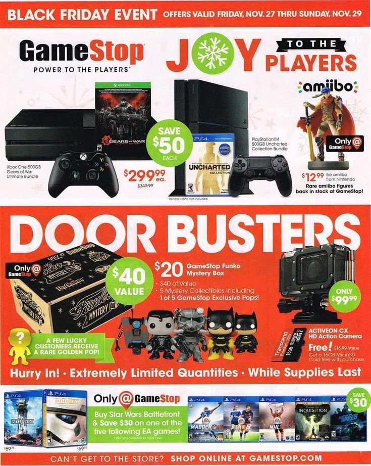 Get the best GameStop Black Friday deals on video games, gaming consoles  and more! Plus, see the GameStop Black Friday ad 2017 here for more sale  info.