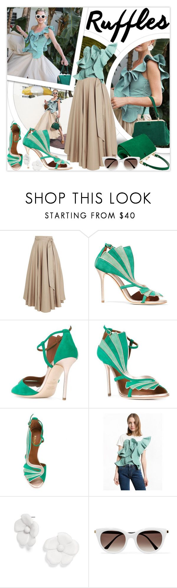 """""""Add Some Flair: Green Gingham Ruffled Top"""" by lucky-ruby ❤ liked on Polyvore featuring TIBI, Malone Souliers, Thierry Lasry, GREEN, gingham and ruffledtops"""