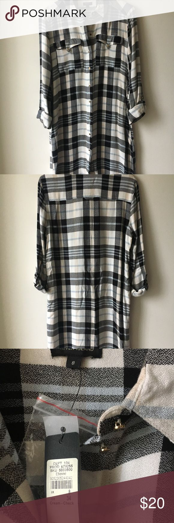 River Island Flannel Dress - Sz 4 (UK 8) - NWT Very cute and good length. Please message me if you have questions! River Island Dresses Long Sleeve