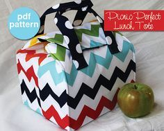 Picnic almuerzo perfecto Tote - patrón de costura PDF - Bento Box Carrier