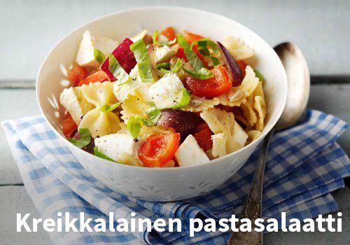 Kreikkalainen pastasalaatti, Resepti: Valio #kauppahalli24 #resepti #pastasalaatti #kreikkalainen #verkkoruokakauppa