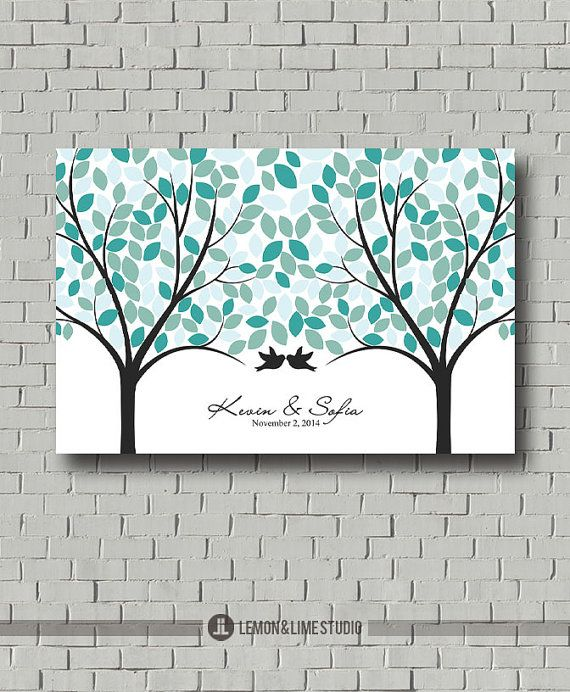 Weddings - Guest Book Alternative - Wedding Tree - Blue Wedding - Wedding Poster - Guestbook Ideas - Wedding Sign In - Wedding Art Print
