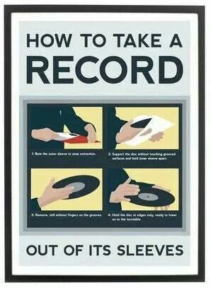 Valuable lesson on how to take records out of their sleeves properly.