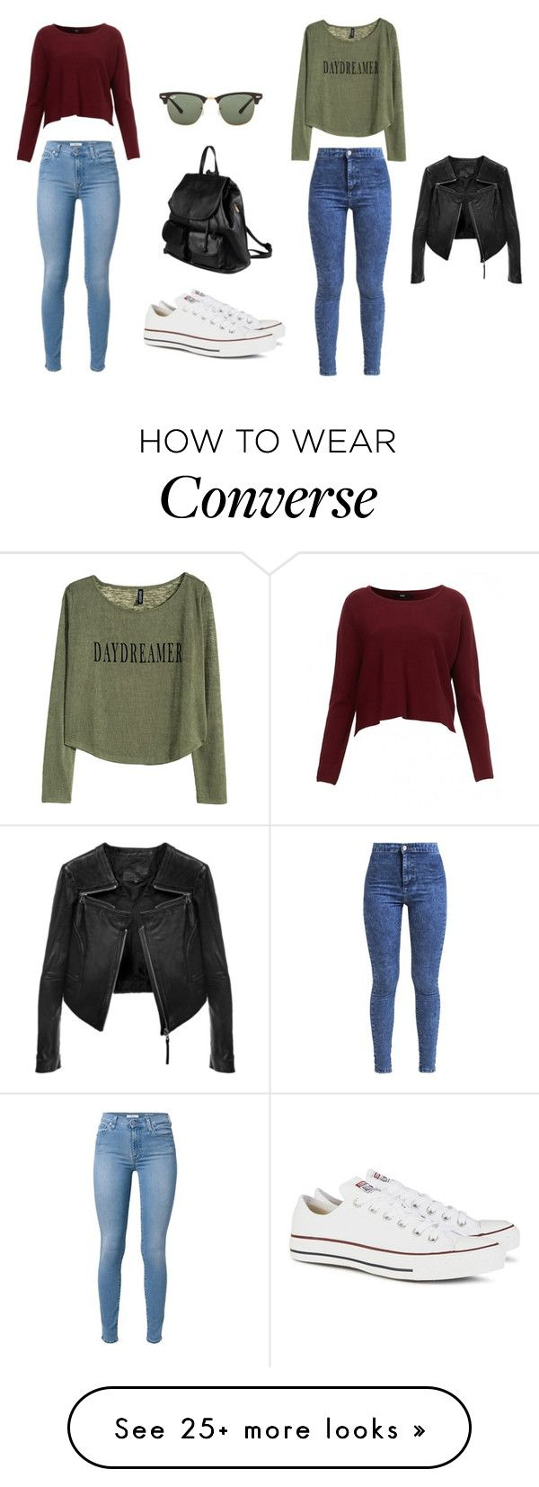 :3 by klara17 on Polyvore featuring Miss Selfridge, HM, Converse, PARENTESI, Ray-Ban and Linea Pelle