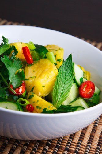 Thai Cucumber and Pineapple Salad (to make vegan omit fish sauce sub with either soy sauce or homemade vegan fish sauce)