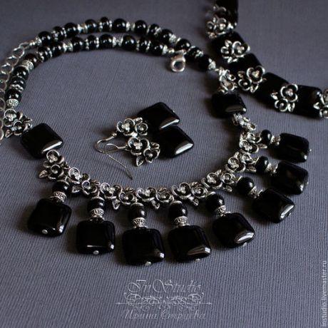 Купить Комплект: колье, браслет и серьги из черного агата Маркиза де Помпадур
