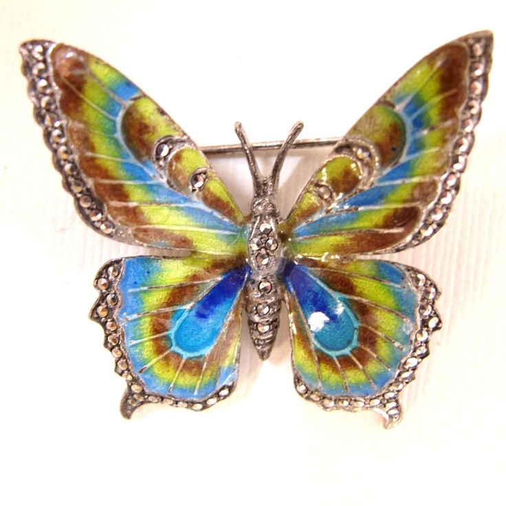 Alice Caviness Sterling Enamel  Butterfly Pin found on Ruby Lane
