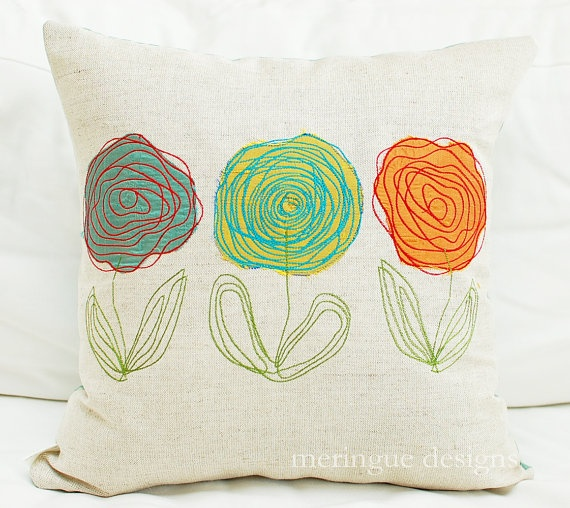 "embroidered scribble flower pillows - do a ""mixed media"" rosette/embroidery pillow!"