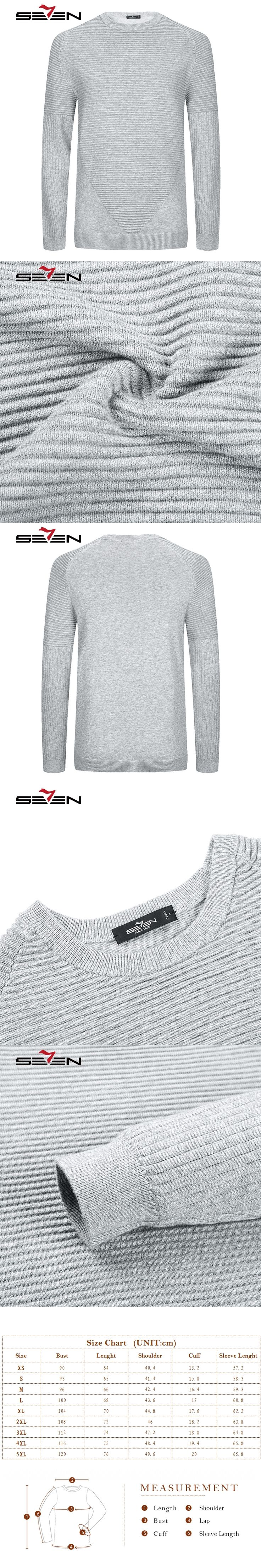 Seven7 High Quality 100% Cashmere Wool Knitwear Sweater Men Pleated O neck Male Pullover Gray Silver Color Jumpers Top 113Y68070