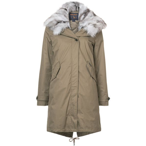 Woolrich Faux-fur Appliqu?(C) Parka ($1,495) ❤ liked on Polyvore featuring outerwear, coats, faux fur hooded coat, hooded coat, hooded parka, woolrich coats and fox coat