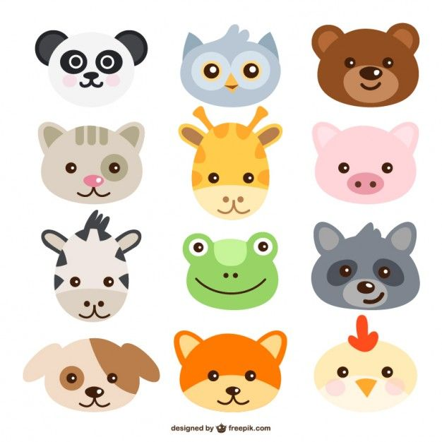 Animals Faces Free Vector                                                                                                                                                      Más